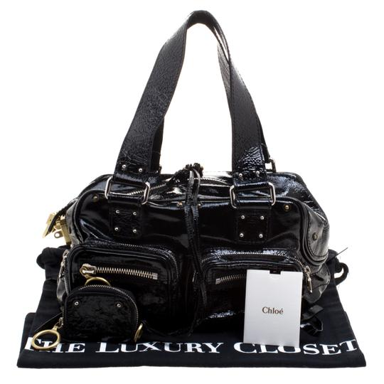 Chloé Patent Leather Satchel in Black Image 11