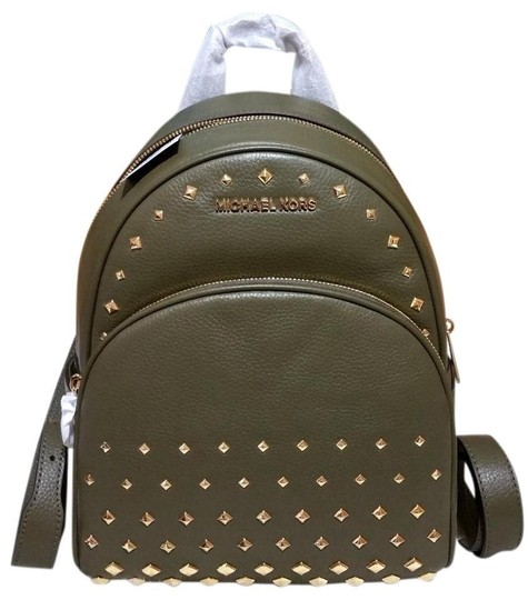 Preload https://img-static.tradesy.com/item/25824918/michael-kors-abbey-medium-diamond-stud-green-leather-backpack-0-0-540-540.jpg