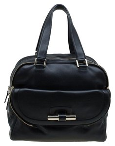 Jimmy Choo Leather Canvas Satchel in Black