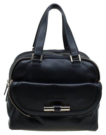 Jimmy Choo Leather Canvas Satchel in Black Image 0
