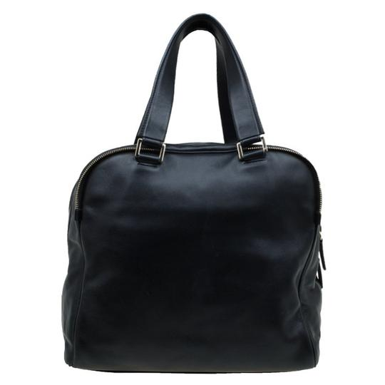 Jimmy Choo Leather Canvas Satchel in Black Image 1