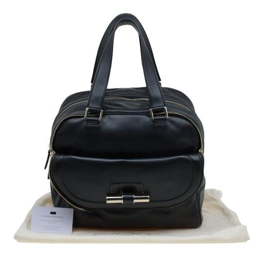 Jimmy Choo Leather Canvas Satchel in Black Image 10