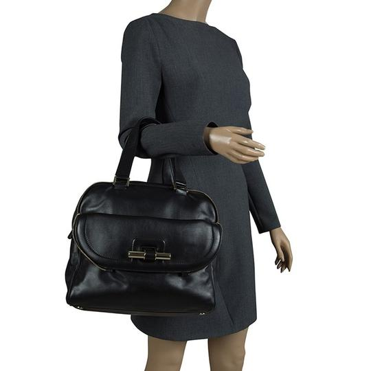 Jimmy Choo Leather Canvas Satchel in Black Image 2