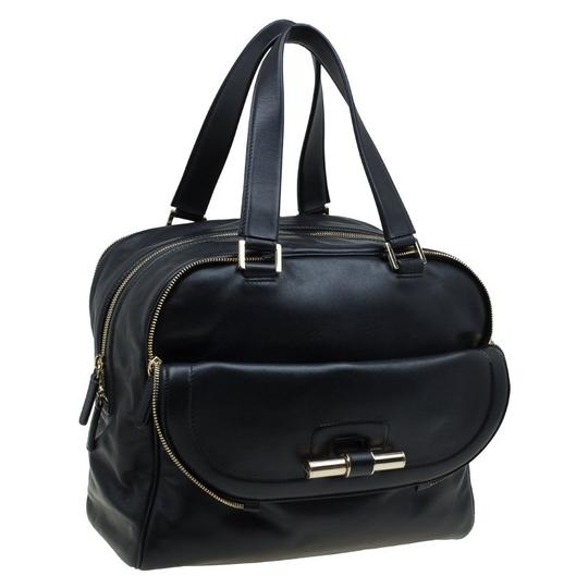 Jimmy Choo Leather Canvas Satchel in Black Image 3