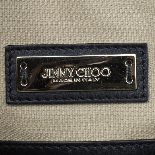 Jimmy Choo Leather Canvas Satchel in Black Image 7