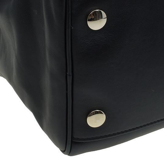 Jimmy Choo Leather Canvas Satchel in Black Image 8