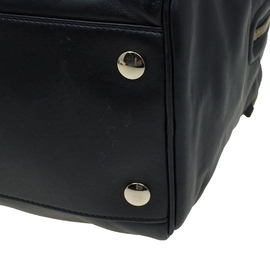 Jimmy Choo Leather Canvas Satchel in Black Image 9