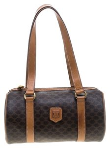 Céline Leather Canvas Satchel in Brown