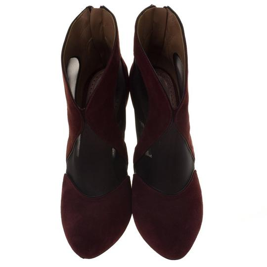 ALAA Suede Mesh Leather Burgundy Boots Image 1