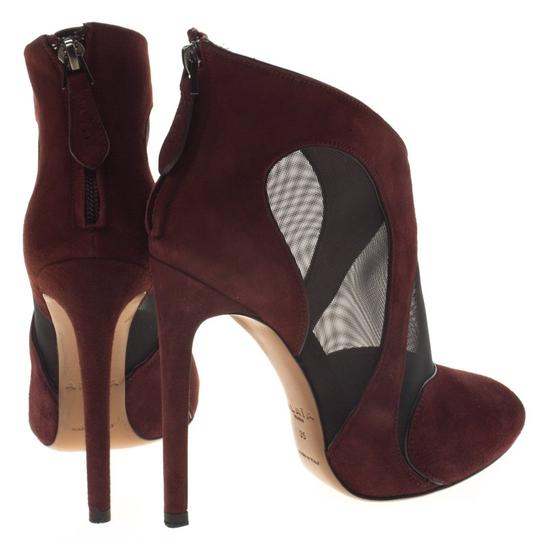 ALAA Suede Mesh Leather Burgundy Boots Image 2