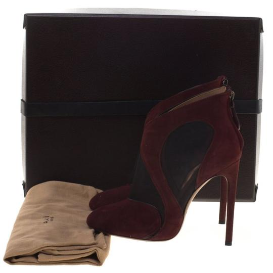 ALAA Suede Mesh Leather Burgundy Boots Image 7