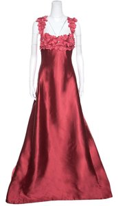 Red Maxi Dress by Reem Acra Silk Floral Applique Detail Embellished