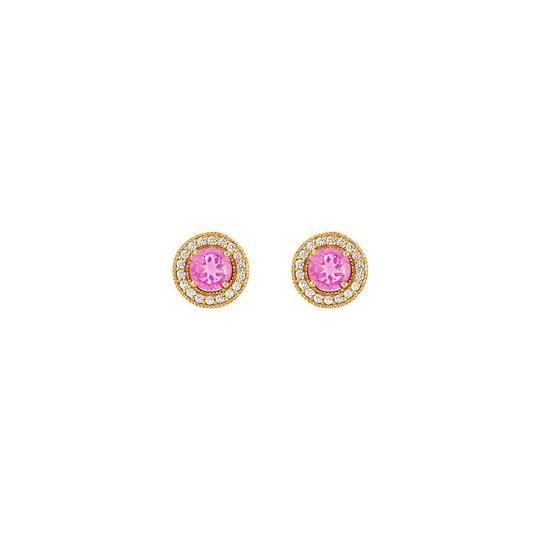 Preload https://img-static.tradesy.com/item/25824985/pink-september-birthstone-created-sapphire-and-cz-halo-stud-earrings-ring-0-0-540-540.jpg