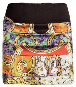 Roberto Cavalli Floral Silk Tiered Mini Skirt Multicolor