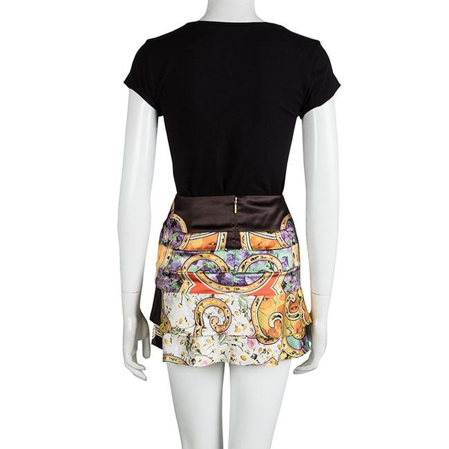 Roberto Cavalli Floral Silk Tiered Mini Skirt Multicolor Image 1