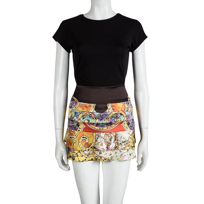 Roberto Cavalli Floral Silk Tiered Mini Skirt Multicolor Image 2