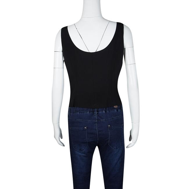 Moschino Sleeveless Acetate Rayon Top Black Image 2