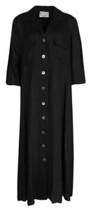 Black Maxi Dress by Max Mara Linen Shirt