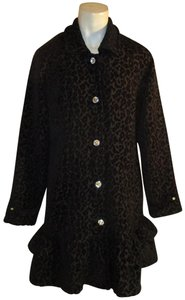 Vintage Couture Leopard Ruffled Rhinestone Onm004 Trench Coat
