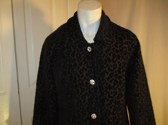 Vintage Couture Leopard Ruffled Rhinestone Onm004 Trench Coat Image 1