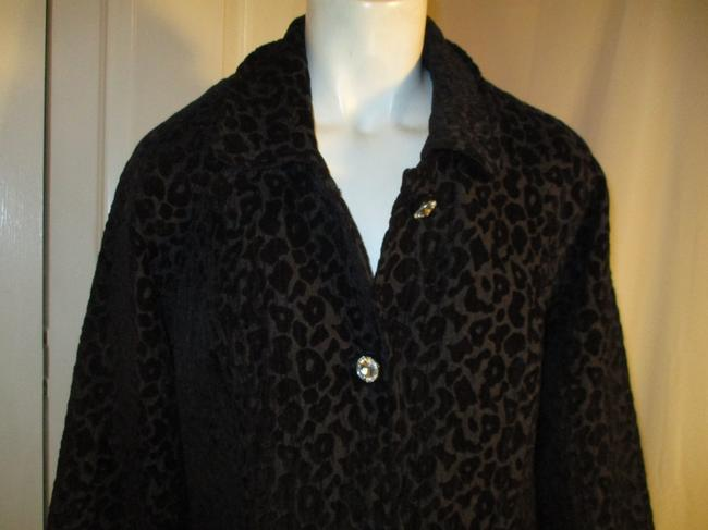 Vintage Couture Leopard Ruffled Rhinestone Onm004 Trench Coat Image 2