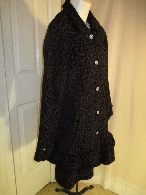 Vintage Couture Leopard Ruffled Rhinestone Onm004 Trench Coat Image 3