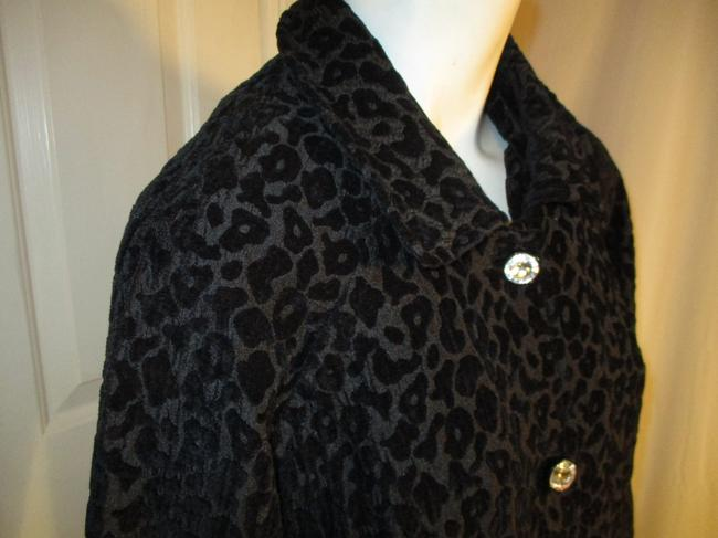 Vintage Couture Leopard Ruffled Rhinestone Onm004 Trench Coat Image 4