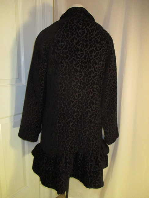 Vintage Couture Leopard Ruffled Rhinestone Onm004 Trench Coat Image 5
