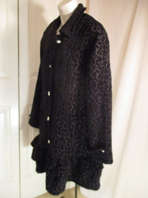 Vintage Couture Leopard Ruffled Rhinestone Onm004 Trench Coat Image 6