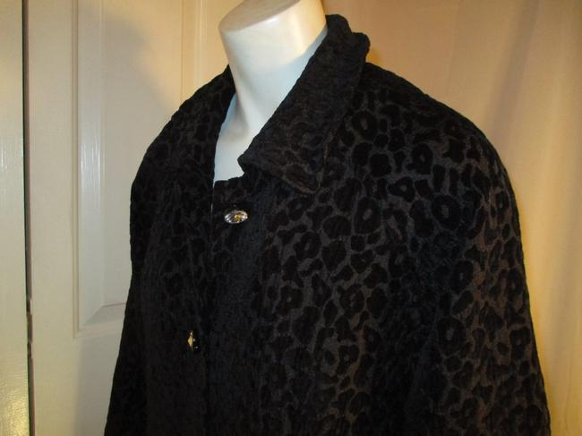 Vintage Couture Leopard Ruffled Rhinestone Onm004 Trench Coat Image 7