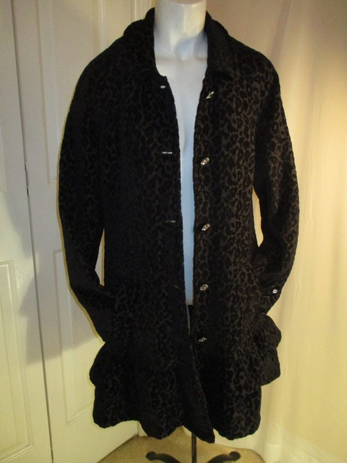 Vintage Couture Leopard Ruffled Rhinestone Onm004 Trench Coat Image 8