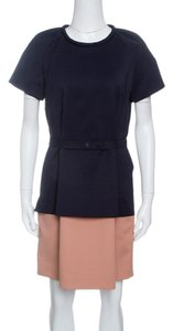 Victoria, Victoria Beckham Two-tone Belted Short Sleeve Cotton Dress