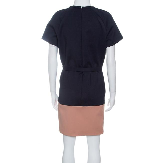 Victoria, Victoria Beckham Two-tone Belted Short Sleeve Cotton Dress Image 1