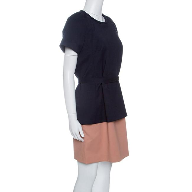 Victoria, Victoria Beckham Two-tone Belted Short Sleeve Cotton Dress Image 2