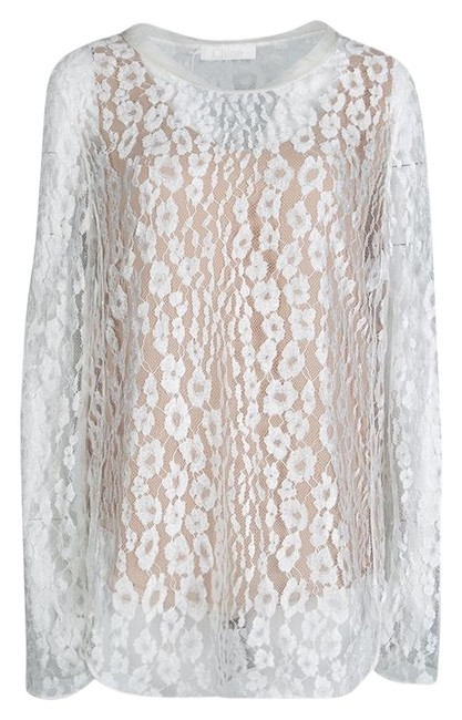 Preload https://img-static.tradesy.com/item/25825212/chloe-white-l-contrast-lined-long-sleeve-floral-lace-blouse-size-12-l-0-1-650-650.jpg