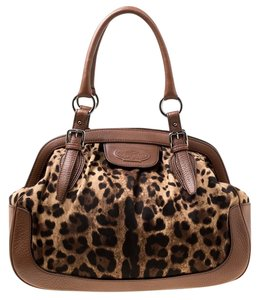 Dolce&Gabbana Fabric Leather Satchel in Brown