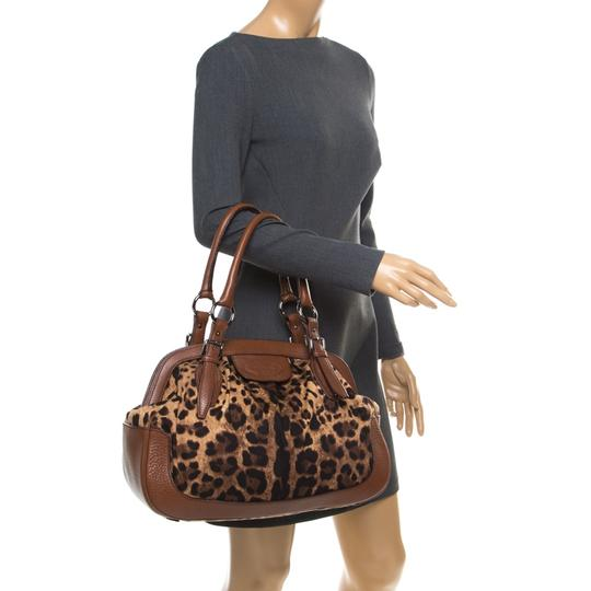Dolce&Gabbana Fabric Leather Satchel in Brown Image 2