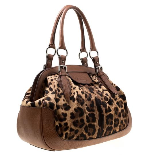 Dolce&Gabbana Fabric Leather Satchel in Brown Image 3