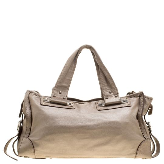 Chloé Leather Metallic Tote in Beige Image 1