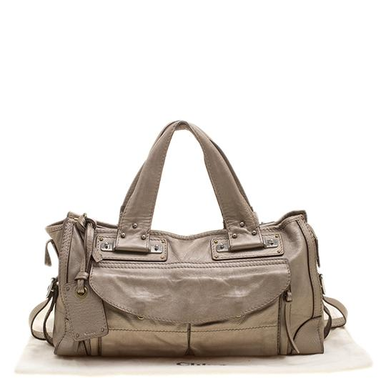 Chloé Leather Metallic Tote in Beige Image 11