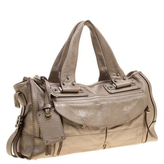 Chloé Leather Metallic Tote in Beige Image 3