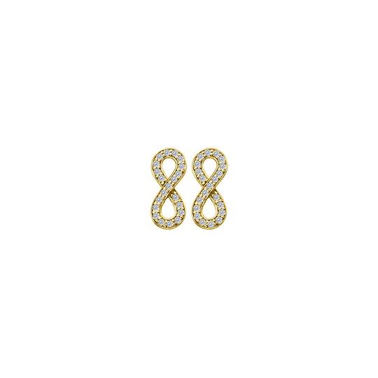 Marco B April Birthstone Diamonds Infinity Earrings in 14K Yellow Gold 0.25 CT Image 0