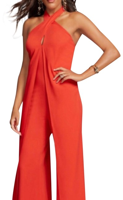 Preload https://img-static.tradesy.com/item/25825385/new-york-and-company-coral-red-ny-halter-romperjumpsuit-0-1-650-650.jpg