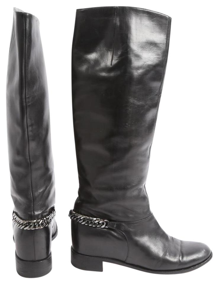 new concept 53dda c9142 Christian Louboutin Black Cate Metal Chain Leather Riding Boots/Booties  Size US 7 Regular (M, B)