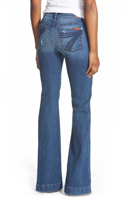 7 For All Mankind Trouser/Wide Leg Jeans-Medium Wash Image 1
