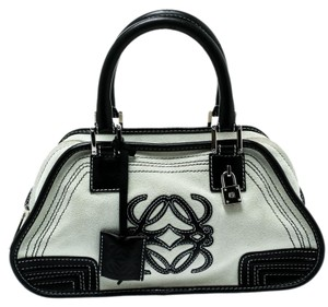 Loewe Fabric Suede Leather Satchel in White