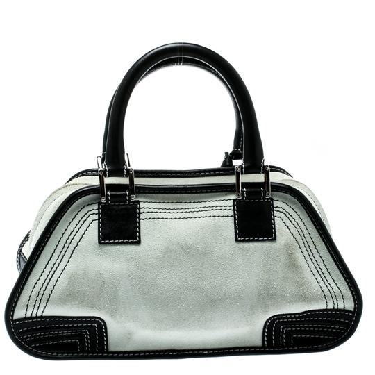 Loewe Fabric Suede Leather Satchel in White Image 1