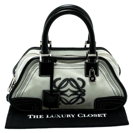 Loewe Fabric Suede Leather Satchel in White Image 10