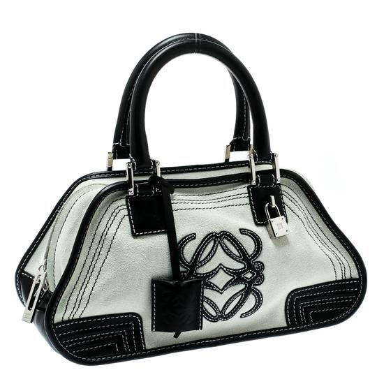 Loewe Fabric Suede Leather Satchel in White Image 3