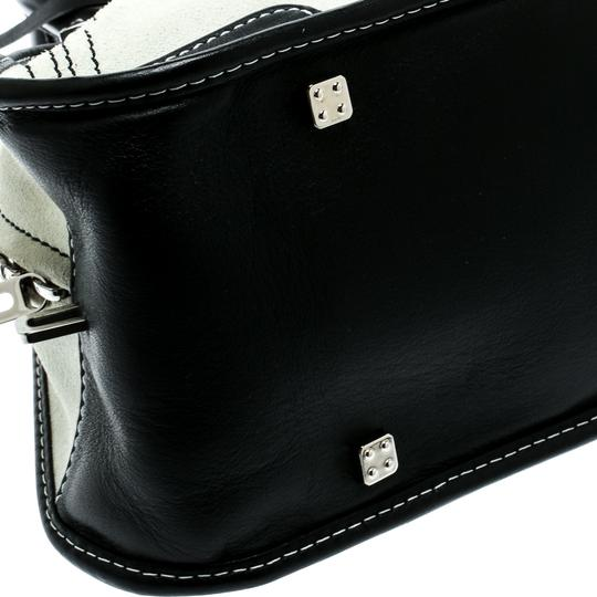 Loewe Fabric Suede Leather Satchel in White Image 5